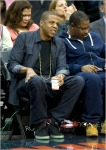 JayZ helps cheer on Kris Humphries and the NJ Nets at the Prudential Center in Newark NJ.